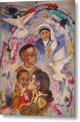 Mother Theresa And Michael Jackson For The Lost Children Metal Print by Jocelyne Beatrice Ruchonnet