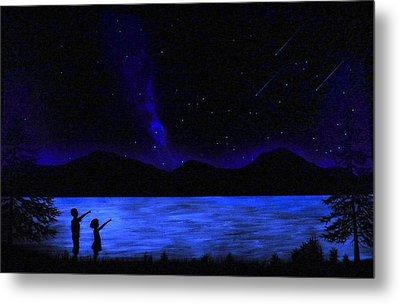 Mountain Lake Glow In The Dark Mural Metal Print