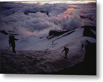 Mountaineers Cross A Snow Crusted Ridge Metal Print by Sam Abell