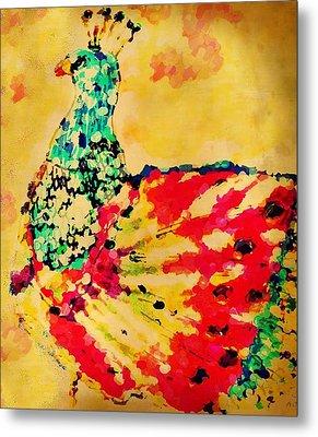 Mprints - Pretty  Peacock Metal Print