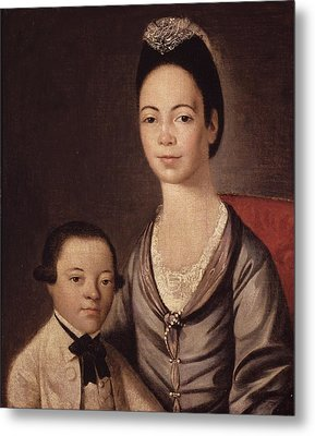 Mrs. Aaron Lopez And Her Son Joshua Metal Print by  Gilbert Stuart