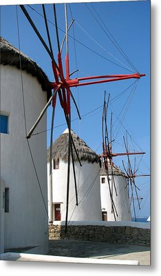 Metal Print featuring the photograph Mykonos Windmills by Carla Parris