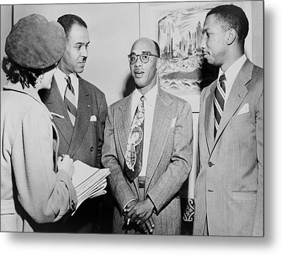 Naacp Leaders During Press Conference Metal Print