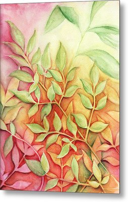 Metal Print featuring the painting Nandina Leaves by Carla Parris