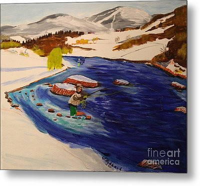New Hampshire Springtime - Skiing And Trout Fishing In The White Mountains Metal Print by Bill Hubbard