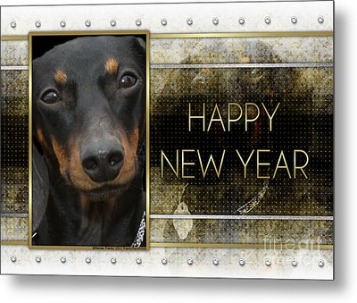 New Year - Golden Elegance Dachshund Metal Print by Renae Laughner