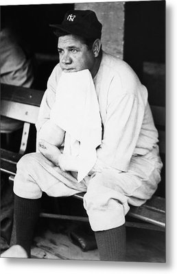 New York Yankees. Outfielder Babe Ruth Metal Print by Everett