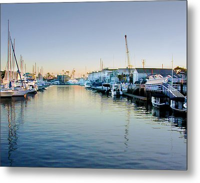 Newport Harbor At Sunset Metal Print by Elaine Plesser