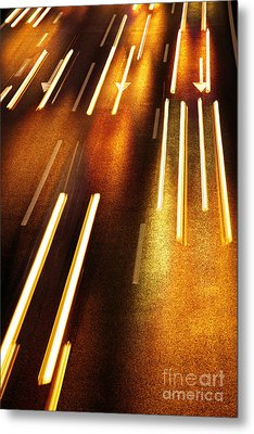 Night Traffic Metal Print by Carlos Caetano