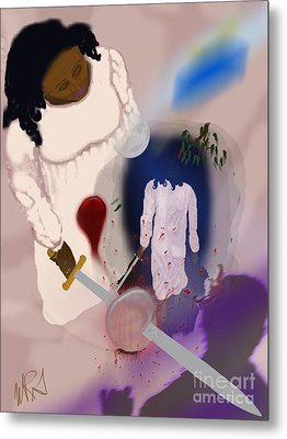 Night Walk  Though She Does Not Know The Seed Of Early Hate Was Slain Metal Print by M R Garcia