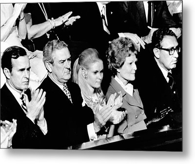 Nixon Family And Administration Listen Metal Print by Everett