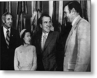 Nixon Presidency. From Left Former New Metal Print by Everett