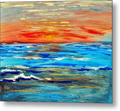 Metal Print featuring the painting Ocean Sunset by Amanda Dinan