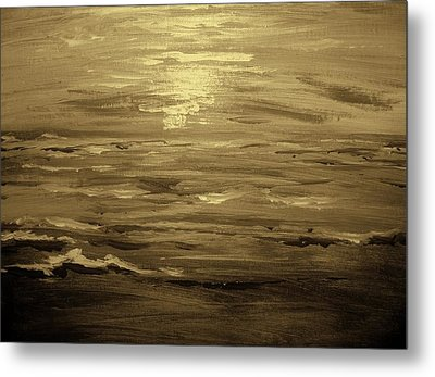 Metal Print featuring the painting Ocean Sunset Blk Wht by Amanda Dinan