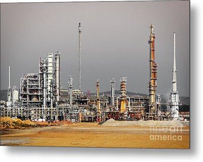 Oil Refinery Metal Print by Carlos Caetano