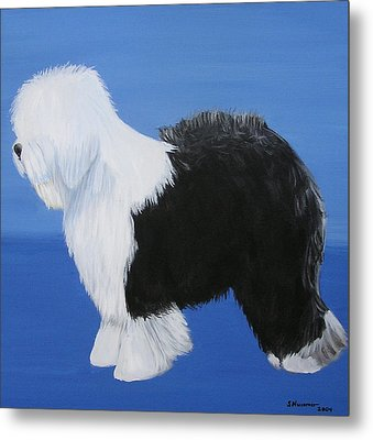 Metal Print featuring the painting Old English Sheepdog by Sharon Nummer
