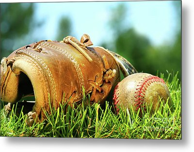 Old Glove And Baseball  Metal Print by Sandra Cunningham