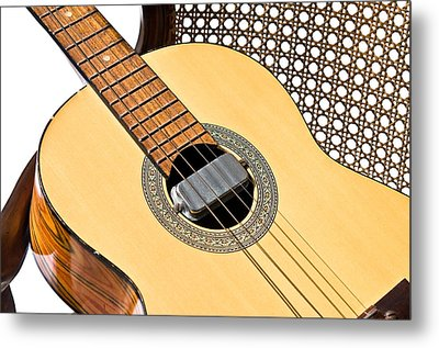 Metal Print featuring the photograph Old Guitar In A Chair by Susan Leggett