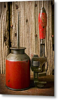 Old Oil Can And Wrench Metal Print by Garry Gay