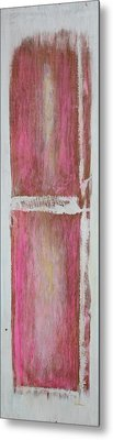 Old Pink Kitchen Door Emanating Light Metal Print by Asha Carolyn Young