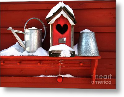 Old Red Birdhouse Metal Print by Sandra Cunningham