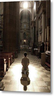 On My Knees In Prayer Metal Print by Rick Wolfryd