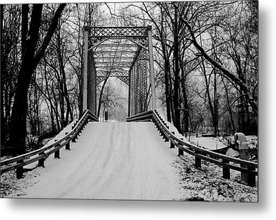 One Lane Bridge In Snow Metal Print