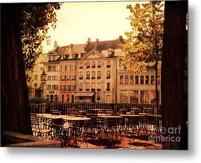 Outdoor Cafe In Lucerne Switzerland  Metal Print by Susanne Van Hulst