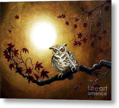 Owl In Maple Leaves Metal Print