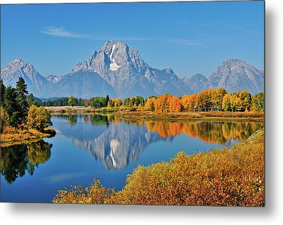 Oxbow Bend Reflections Metal Print by Greg Norrell