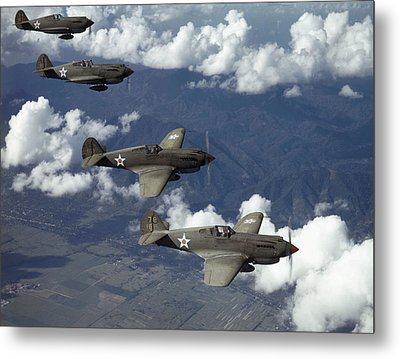P-40 Pursuits Of The U.s. Army Air Metal Print by Luis Marden