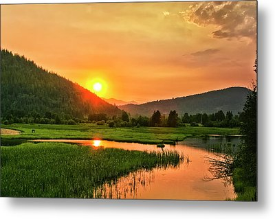 Metal Print featuring the photograph Pack River Delta Sunset by Albert Seger
