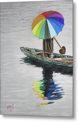 Paddling Downstream Metal Print