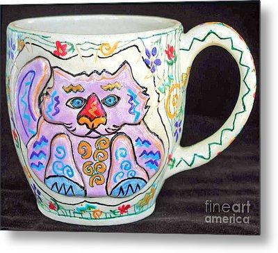 Painted Kitty Mug Metal Print by Joyce Jackson