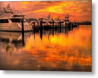 Palm Beach Harbor Glow Metal Print by Debra and Dave Vanderlaan