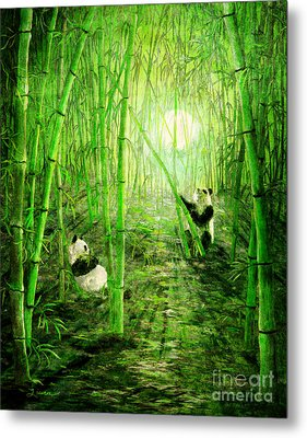 Pandas In Springtime Bamboo Metal Print by Laura Iverson