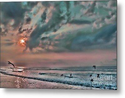 Pastel Sky With Birds Metal Print by Jeff Breiman