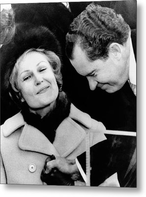 Pat Nixon Grasps Her Husbands Hand Metal Print by Everett