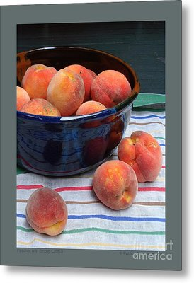 Peaches With Striped Cloth-ii Metal Print by Patricia Overmoyer