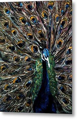 Metal Print featuring the painting Peacock 2 by Amanda Dinan