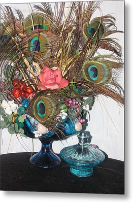 Peacock Feather Center Piece In Blue Glass Metal Print by HollyWood Creation By linda zanini