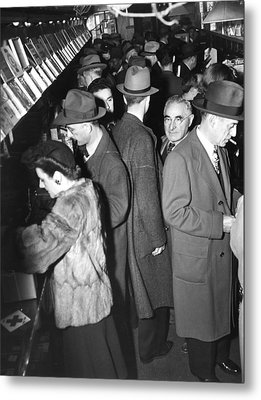 People Waiting On Line To Buy Metal Print by Everett