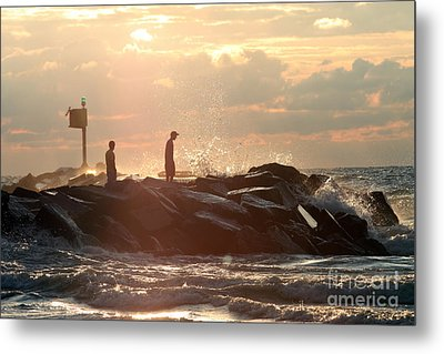 People Walking On New Buffalo Michigan Breakwater Metal Print by Christopher Purcell