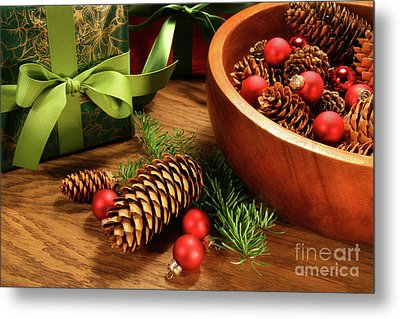 Pine Cones And Christmas Balls  Metal Print by Sandra Cunningham