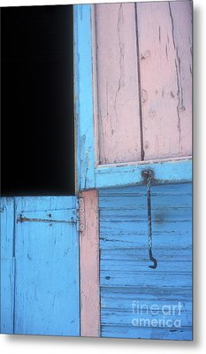 Metal Print featuring the photograph Pink And Blue Shutters Barahona Dominican Republic by John  Mitchell
