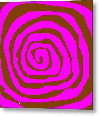 Pink And Brown Swirls Metal Print by Jeannie Atwater Jordan Allen