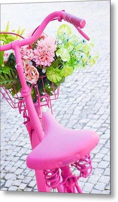 Pink Bicycle Metal Print by Carlos Caetano