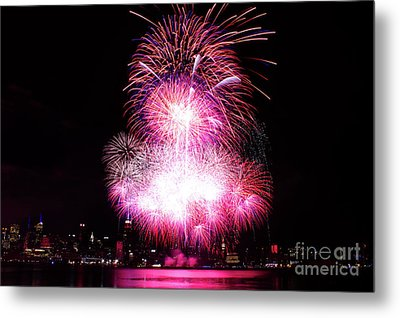 Pink Fireworks At Nyc Metal Print by Archana Doddi