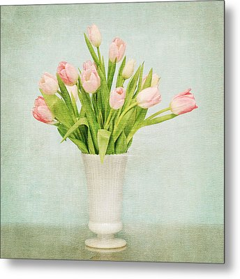 Pink Tulips Metal Print by Mary Hershberger