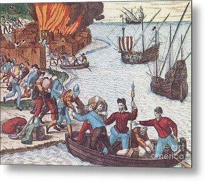 Pirates Burn Havana, 1555 Metal Print by Photo Researchers